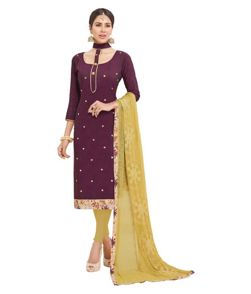Multi Retail Brown and Purple Cotton Blend Dress Material
