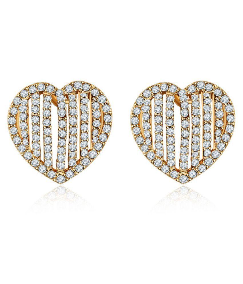 Jewels Galaxy Exclusive Luxuria AAA American Diamond Love Heart Fabulous Pair Of Stud Earrings For Women/Girls