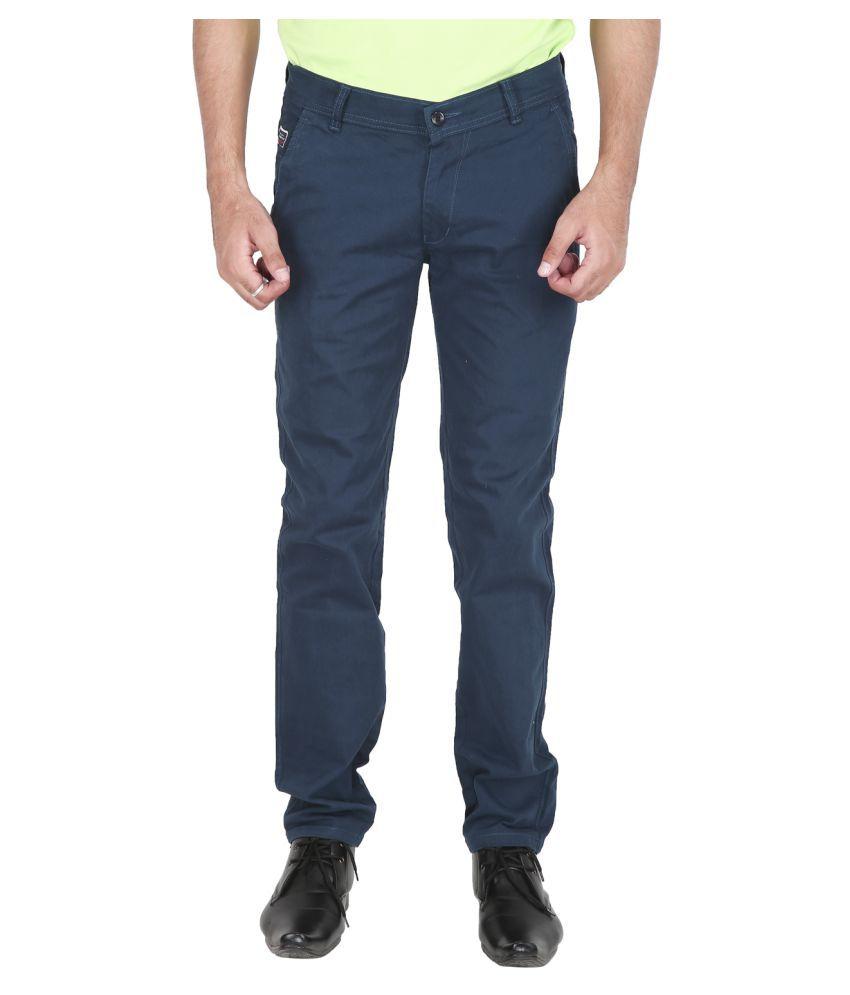 Stallion Cotton Clothing Blue Regular -Fit Flat Chinos