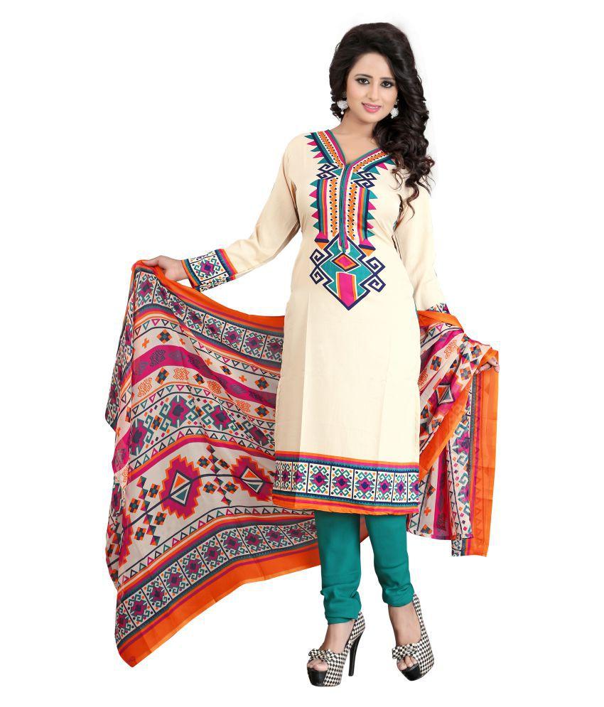 TANYA DESIGNER Brown Crepe Dress Material