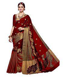 RAJWADI FAB Red Cotton Silk Saree
