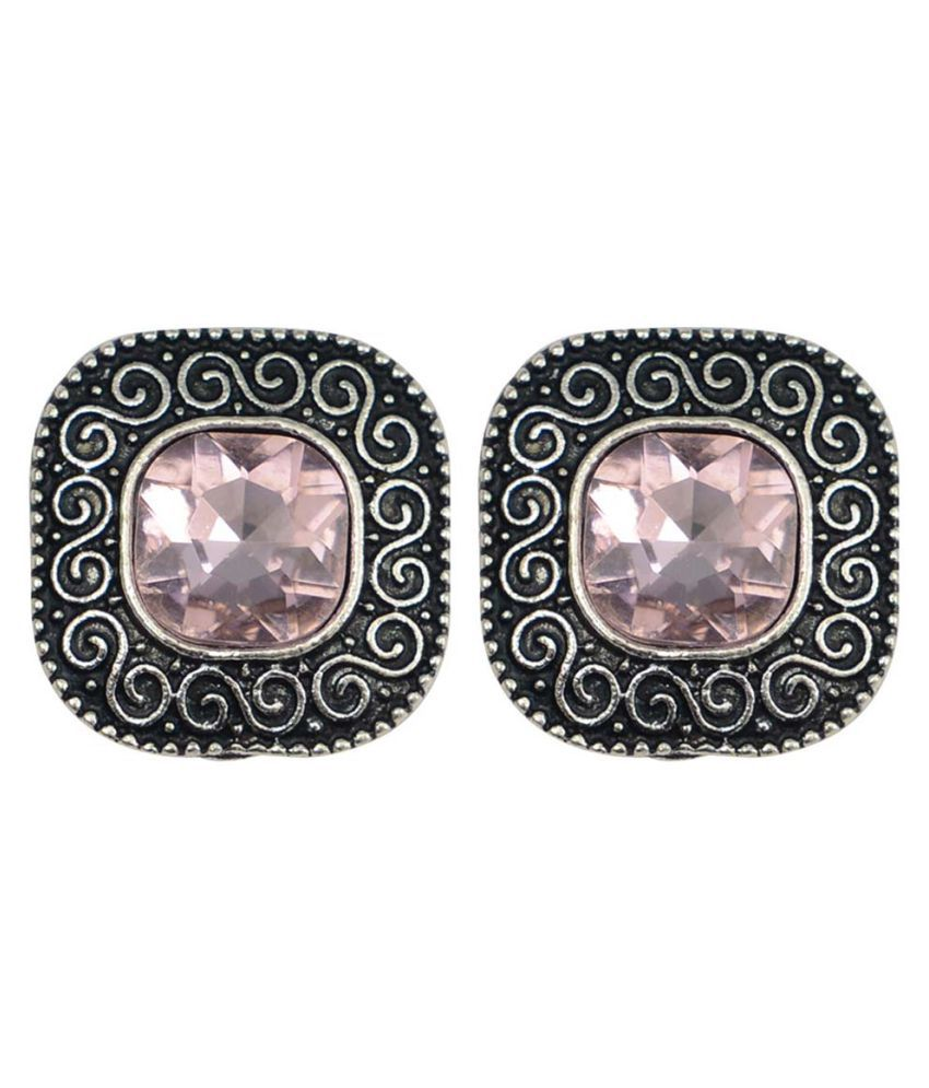 Taj Pearl Designer Crystal Stud Earrings