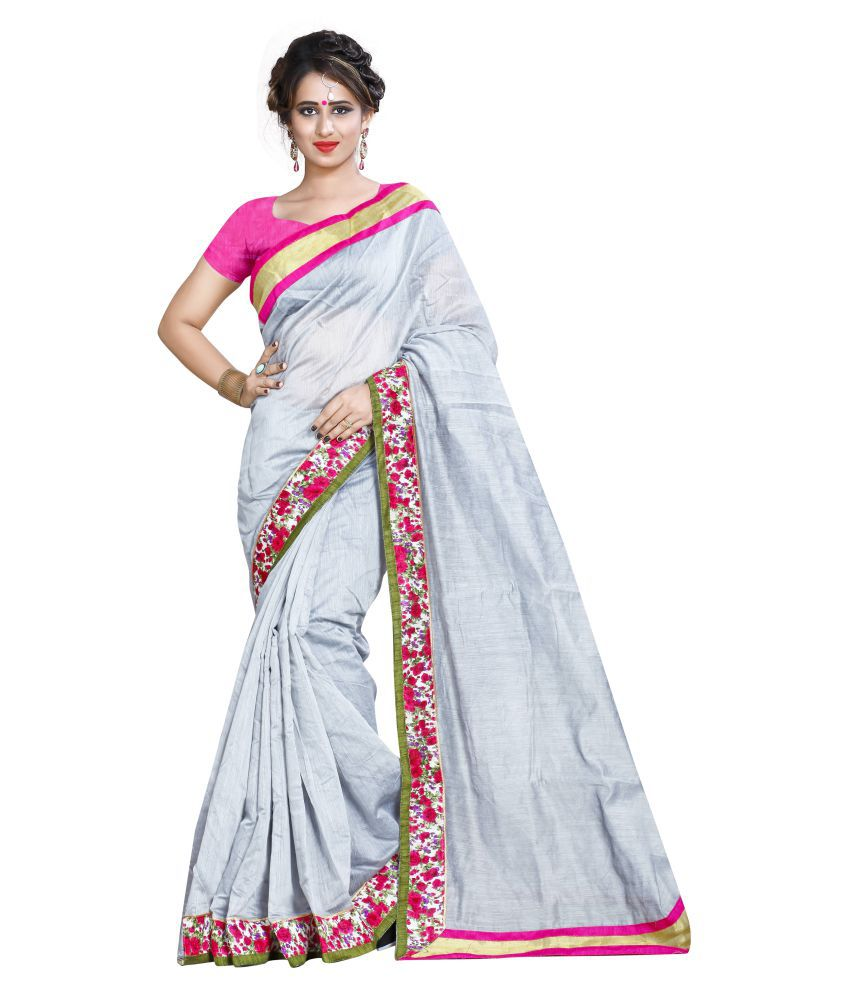 Shailaja Sarees Grey Chanderi Saree