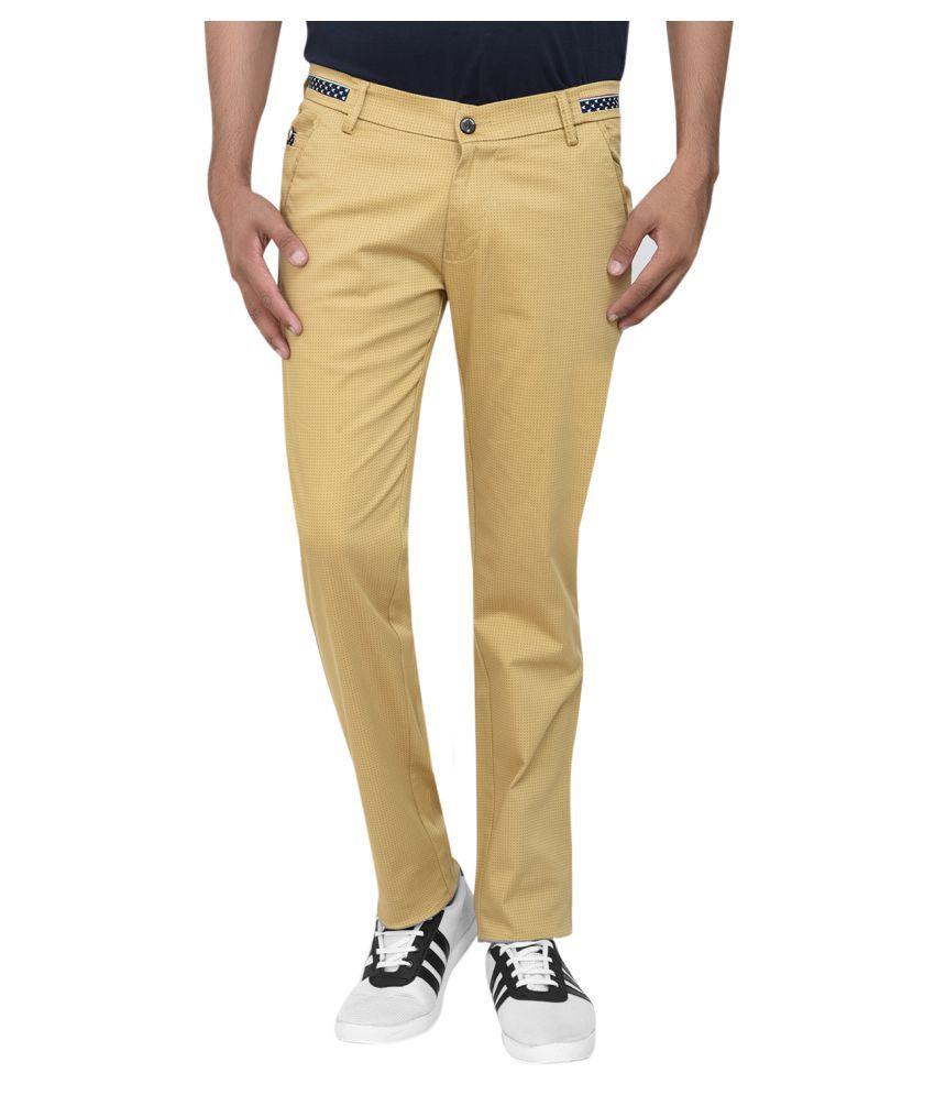TiiKart Khaki Slim -Fit Flat Trousers
