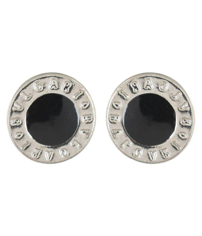Stainless Steel Black Silver Mens Studs Hoop Earrings
