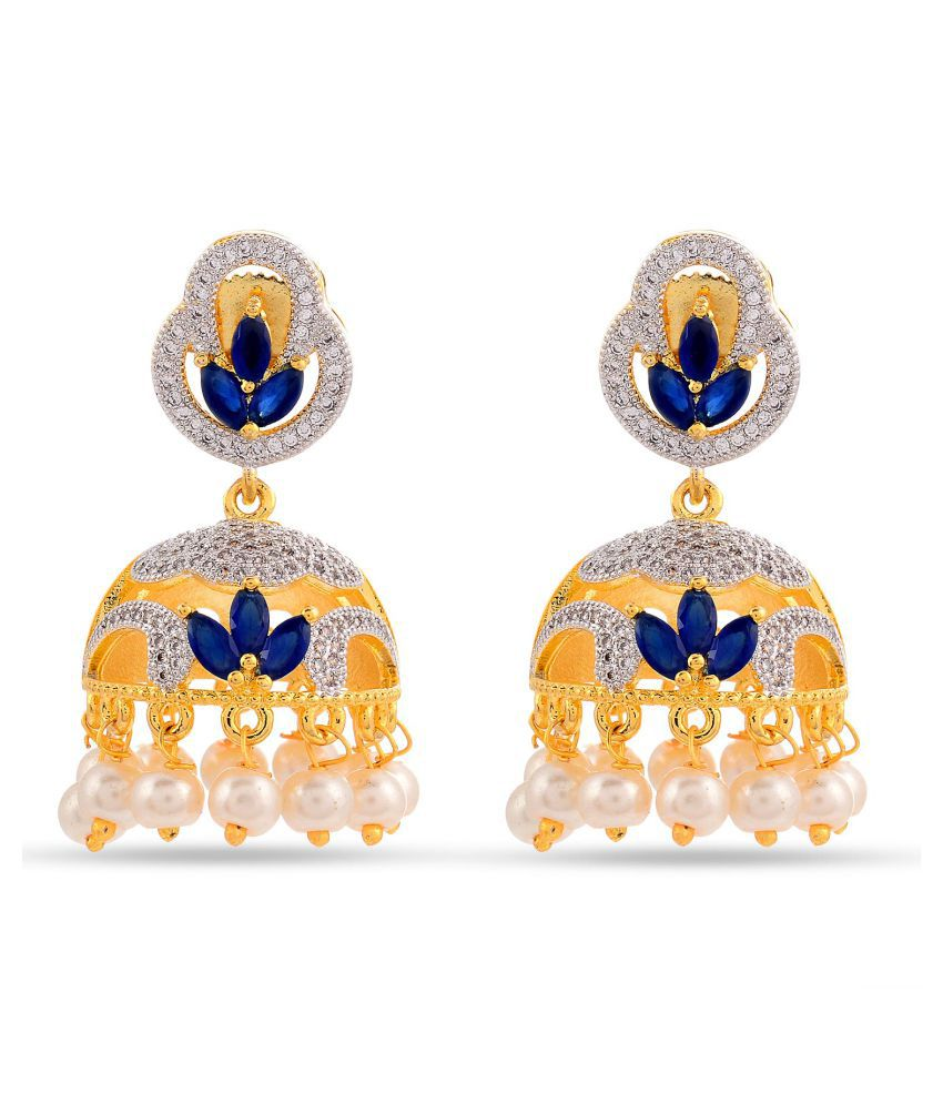 Contemporary American Dimonds Colored Stones Desginer Stylish Party Wear Jhumki / Jhumka Earring For Girls / Women