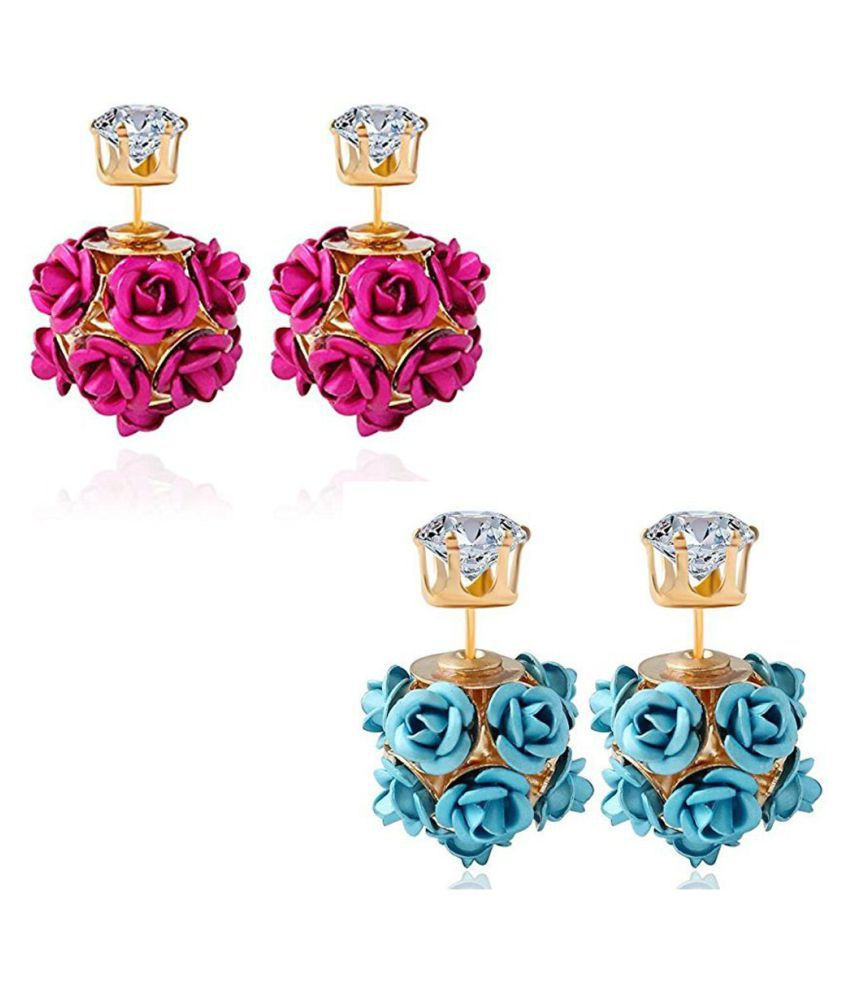 Jewels Galaxy Exclusive AD Floral Design Gold Plated Stud Earrings Collection For Women/Girls-Combo of 2 (Pink and Aqua Blue)