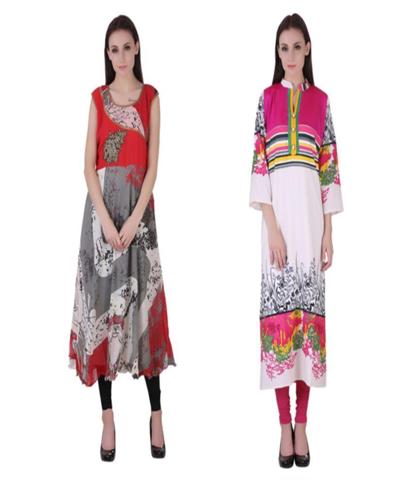 VF FASHIONS Multicoloured Georgette Straight Kurti