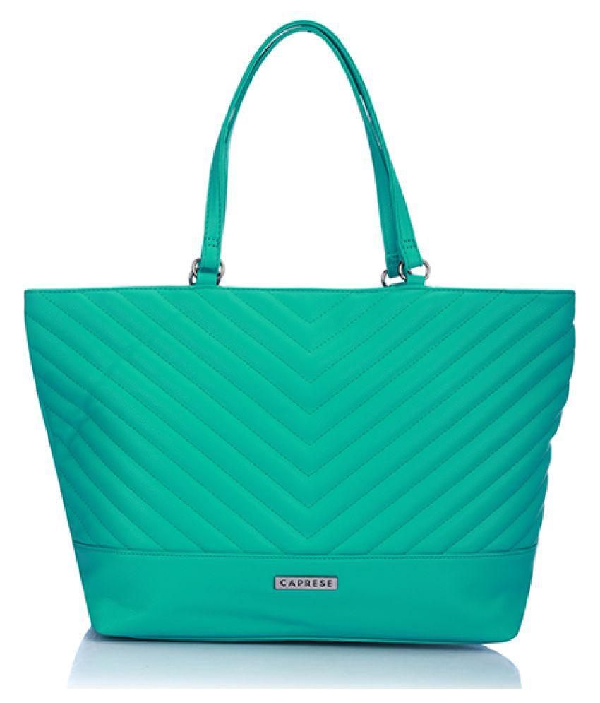 Caprese Aqua Faux Leather Tote Bag