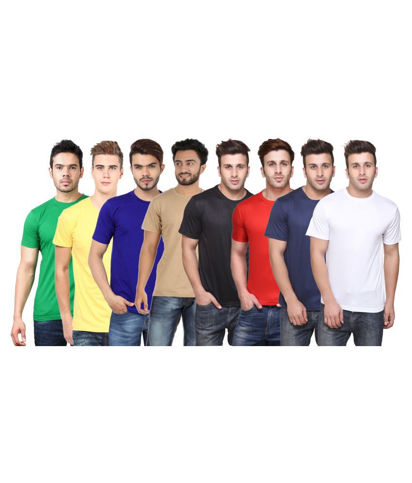 FUNKY GUYS Multi Polyester T-Shirt Pack of 8