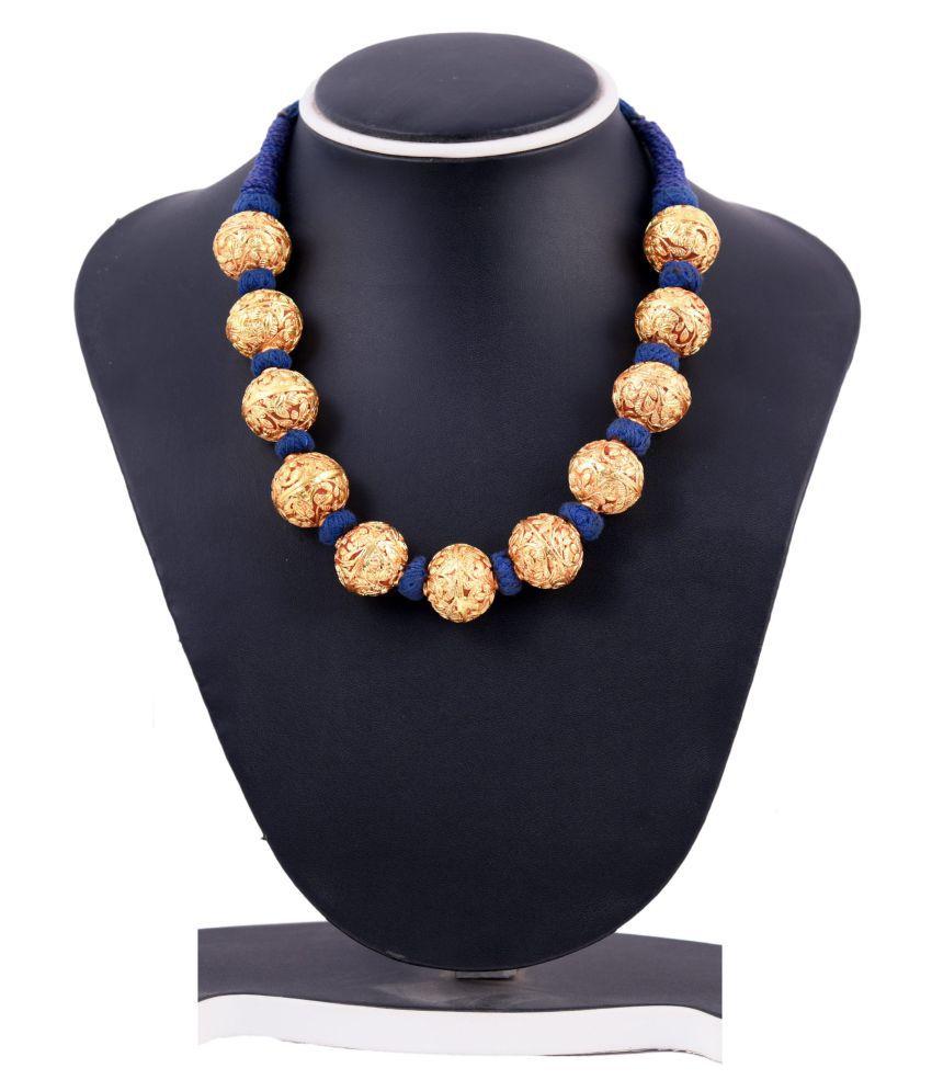 Blue thread brass necklace (Geru Kantha)