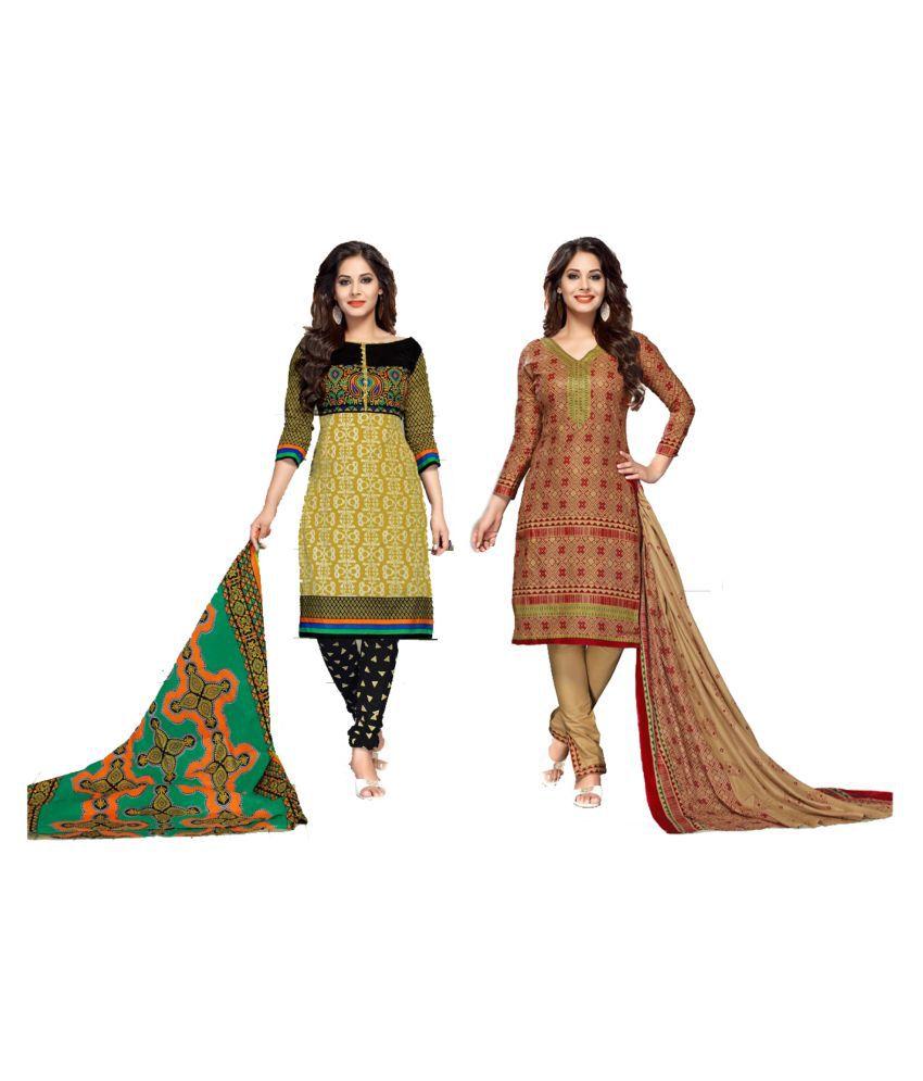 VKS Multicoloured Cotton Dress Material