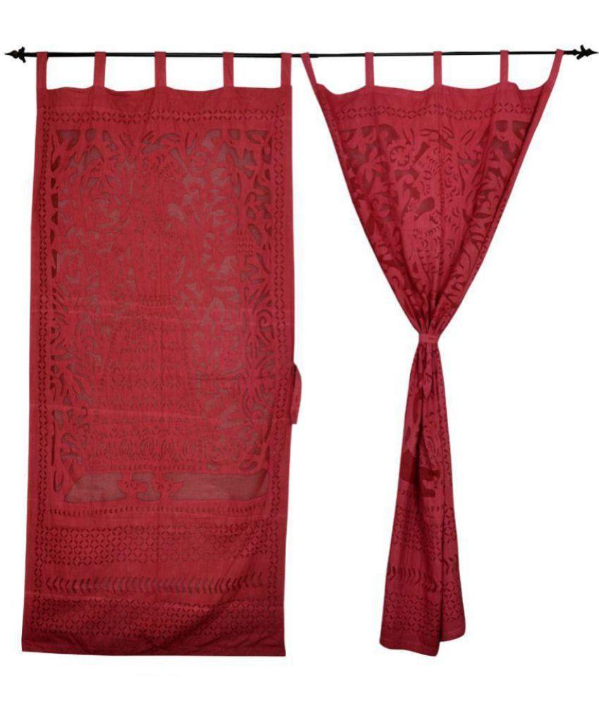 Lal Haveli Set of 2 Long Door Tab Top Curtains Abstract Maroon