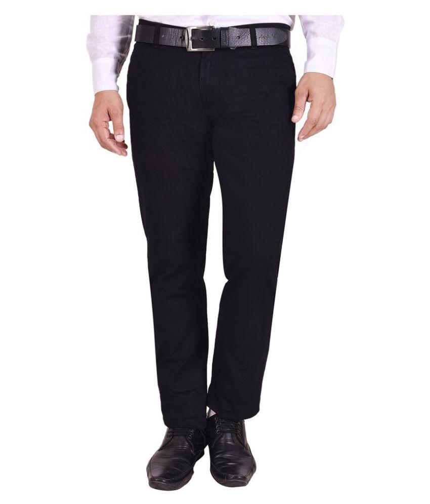 Nation Polo Club Black Slim -Fit Flat Trousers