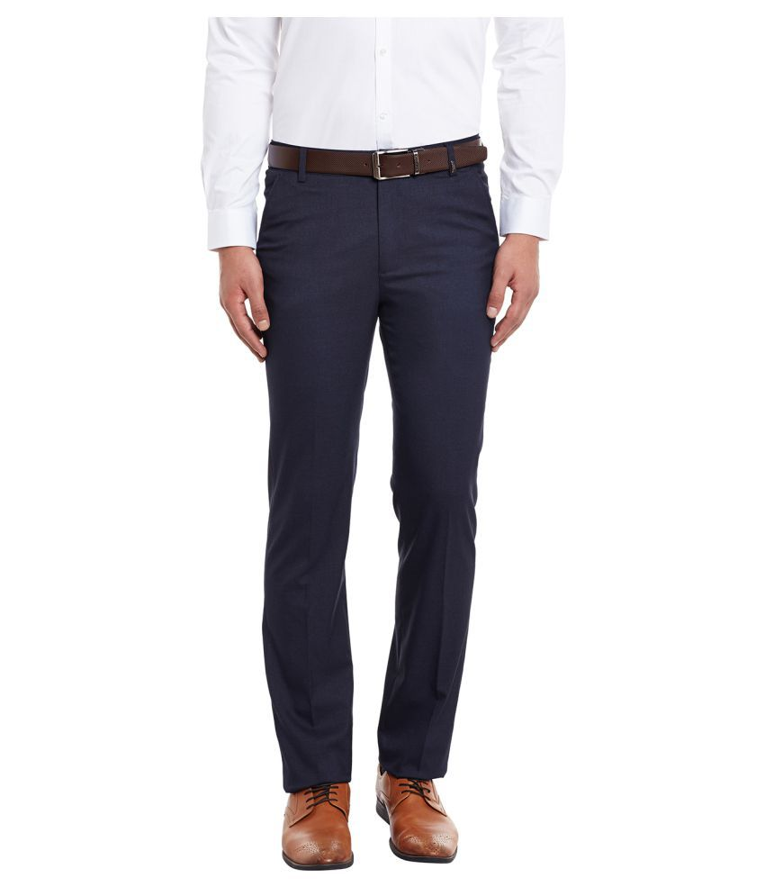 Canary London Navy Blue Slim -Fit Flat Trousers