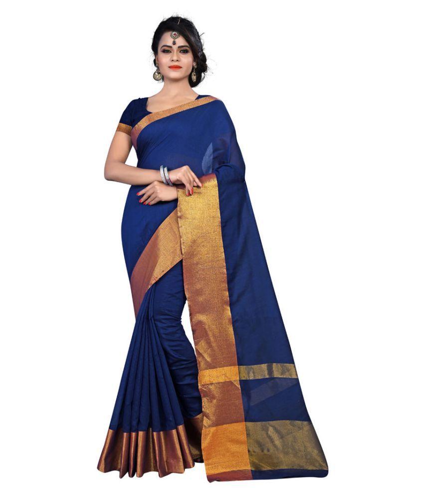 Sanjana collection Blue Cotton Saree