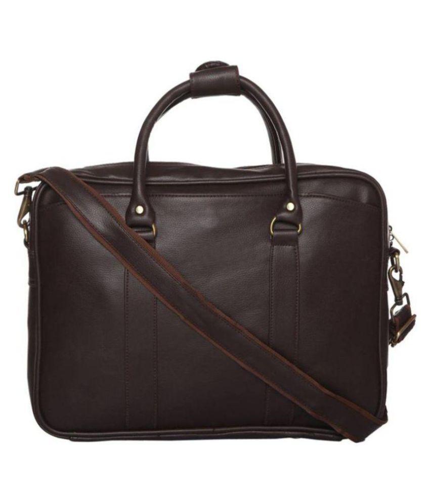 SSTL Brown Synthetic Office Messenger Bag