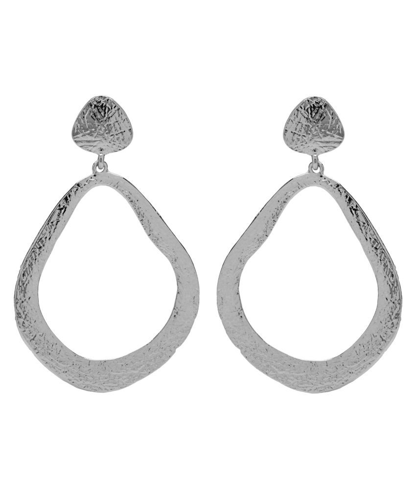 2010KHARIDO Contemporary Silver Colored Alloy Hoop Drop Earring for Women