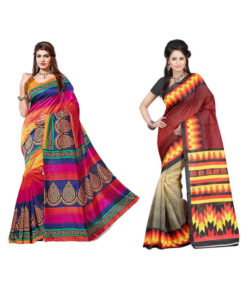 Denim Sulitical Multicoloured Bhagalpuri Silk Saree Combos