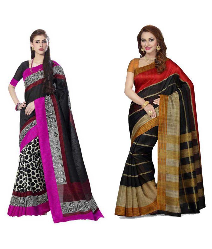 Denim Sulitical Multicoloured Bhagalpuri Silk Saree Combos