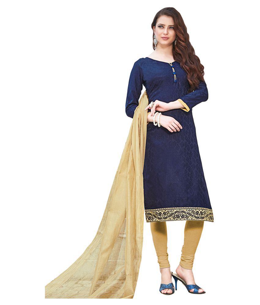PRICE BET Blue Jacquard Dress Material