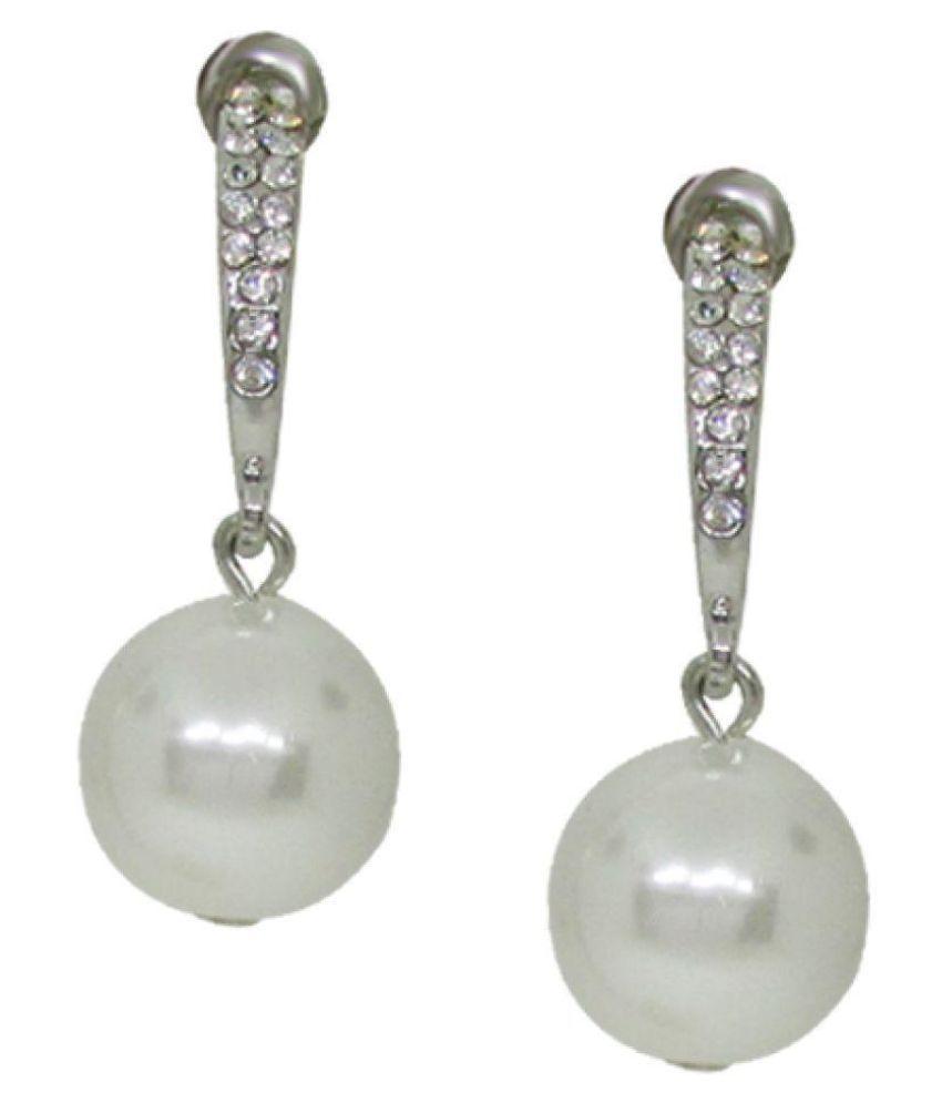 Jewelz Silver Plated Crystal Pearl Earrings For Women Zinc Alloy Pearl Earrings