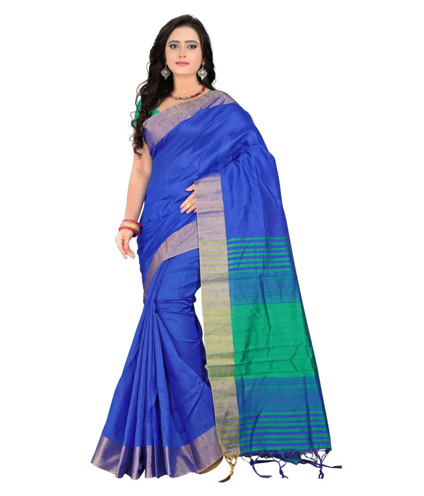 indi wardrobe Blue Cotton Saree