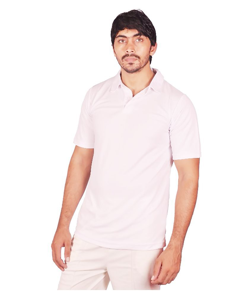 Dyed Colours White Regular Fit Polo T Shirt