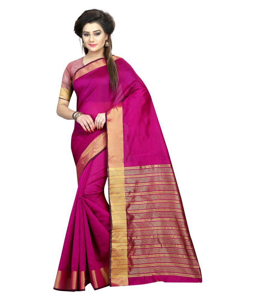 Fashionesta Pink Cotton Silk Saree