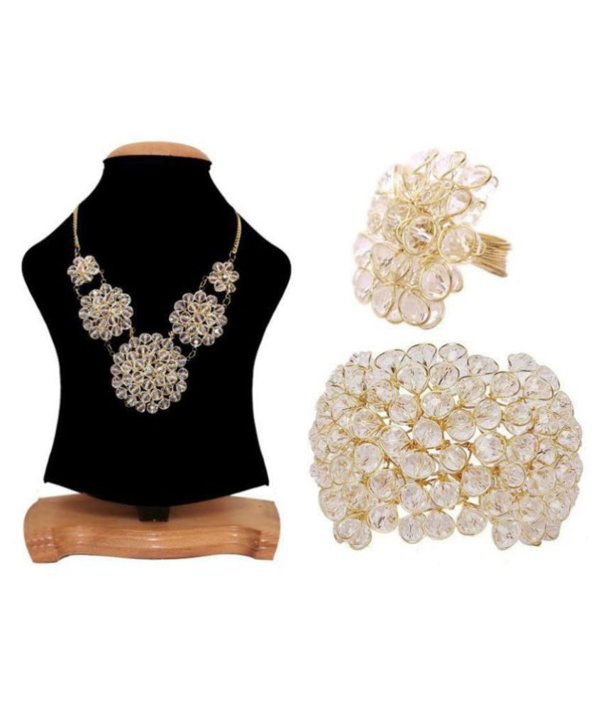 Ayeshu White Beaded Necklace with Bracelet and Ring
