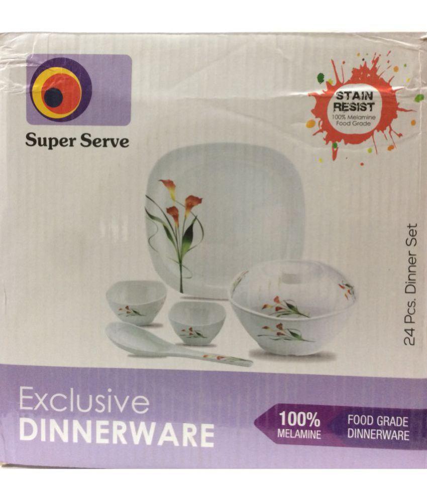 Super Serve GLAR DNRST 24R Melamine Dinner Set of 24 Pieces