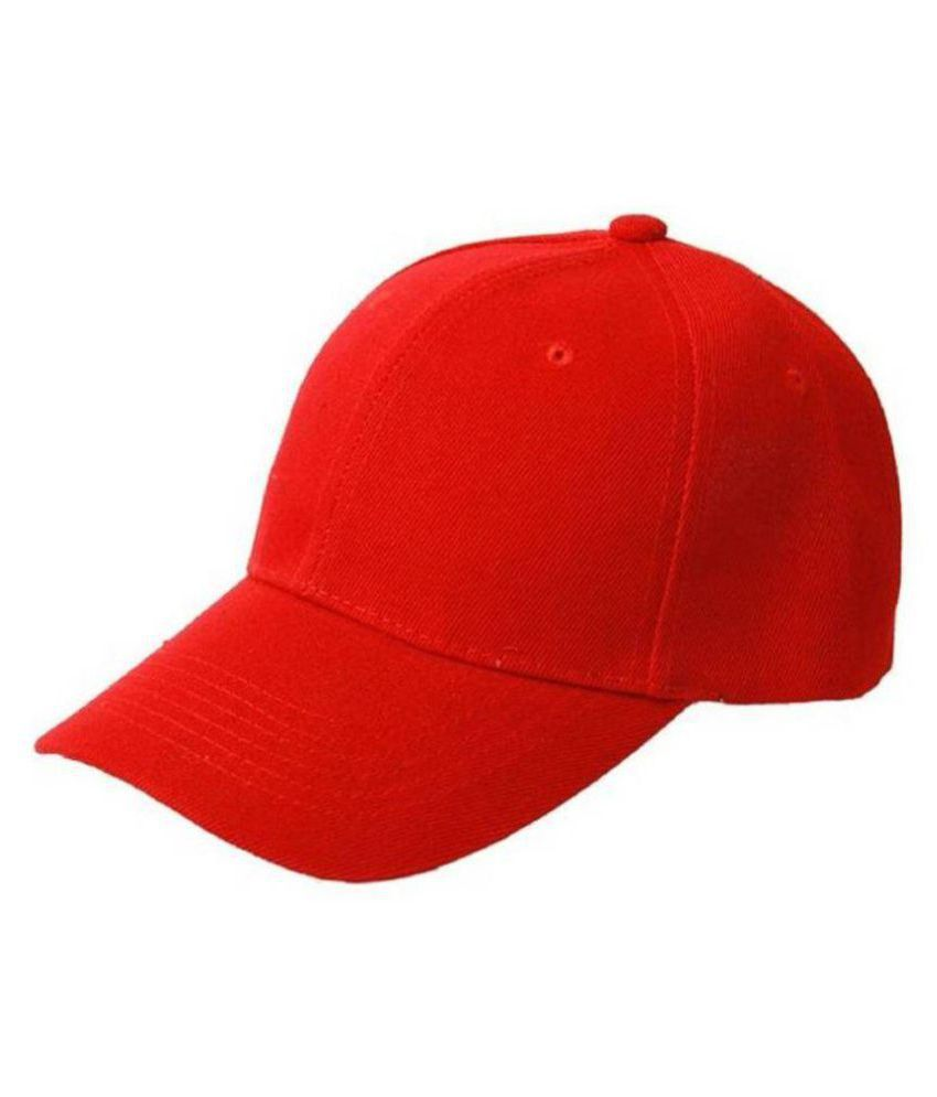 Tahiro Red Plain Cotton Caps