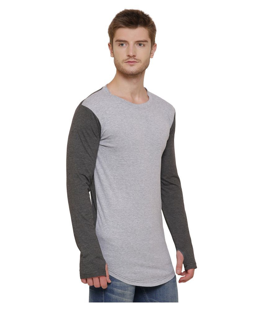 GRAND STITCH Grey Round T-Shirt