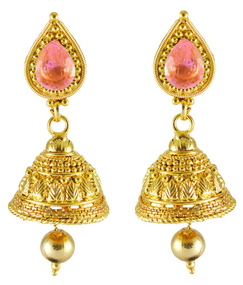 Rejewel CZ Stone Jhumka Earrings in Pink Color