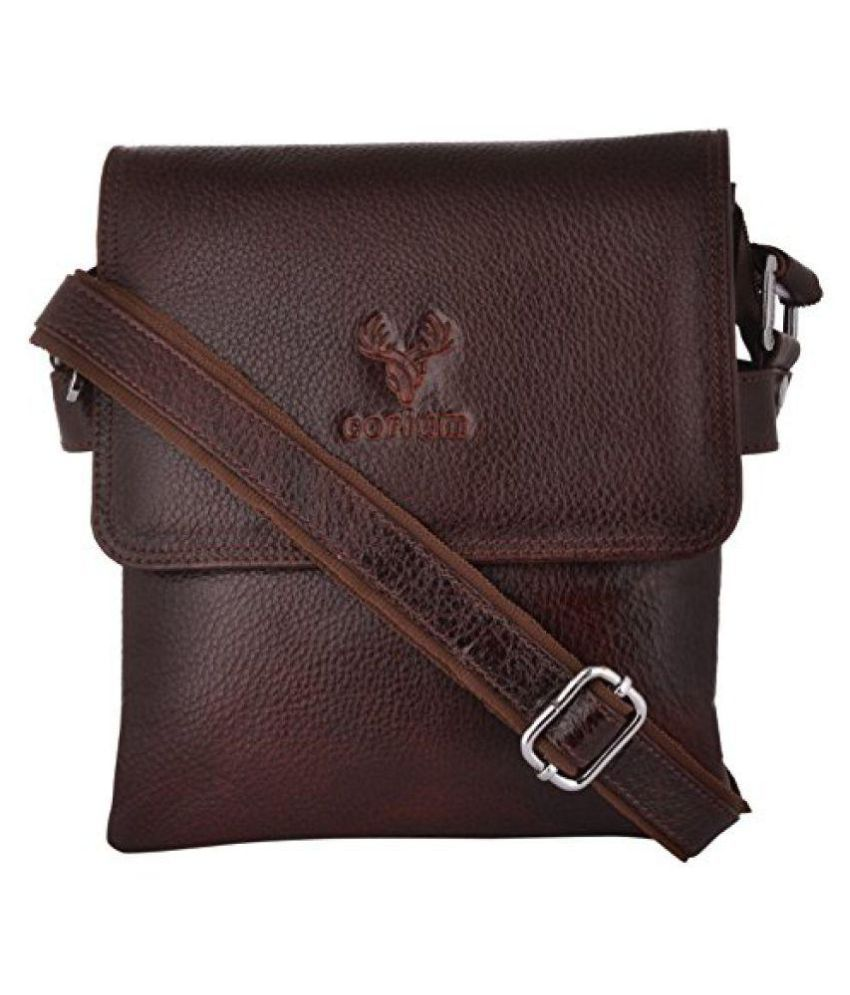 Corium Brown Leather Casual Messenger Bag