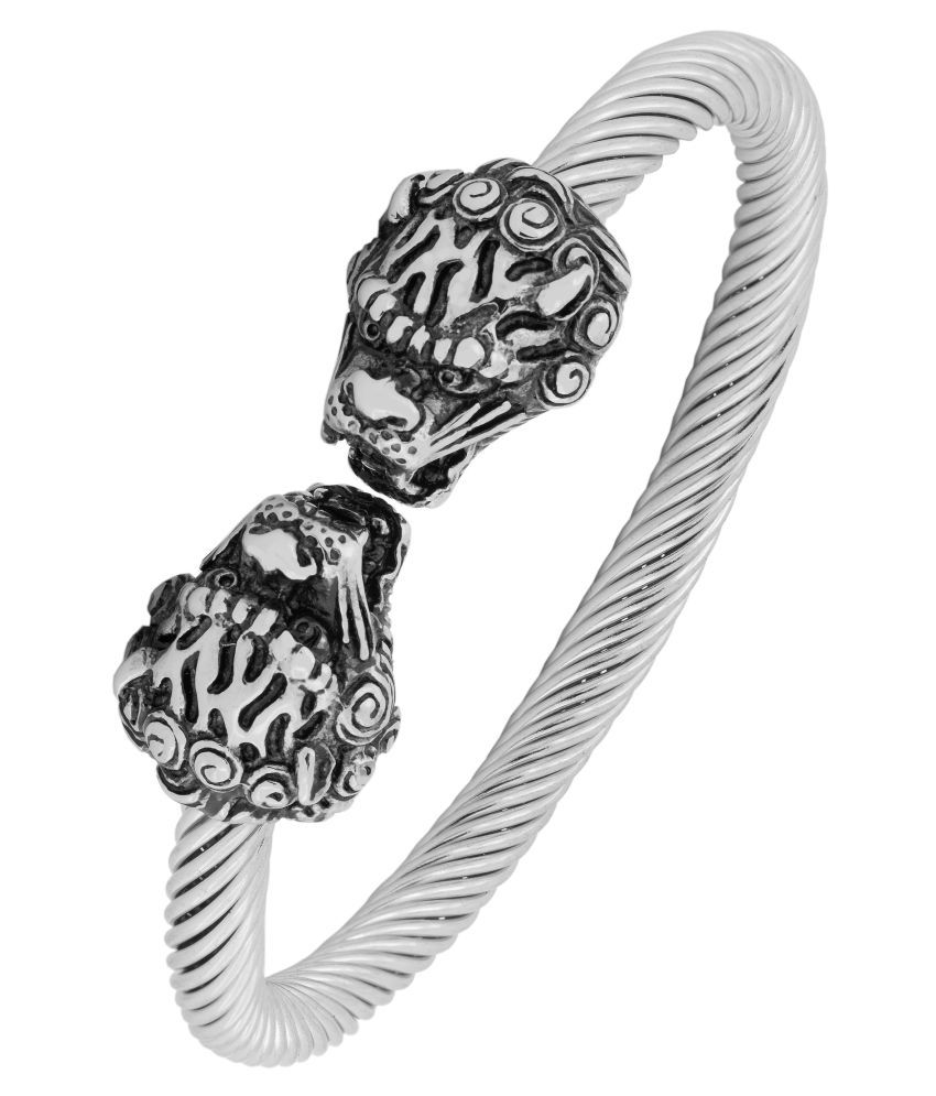 12292348470 Punk Lion Dragon Oxidized Silver Plated 316L Surgical Stainless Steel Cuff  Kada Bangle Bracelet Men: Buy Online at Low Price in India - Snapdeal