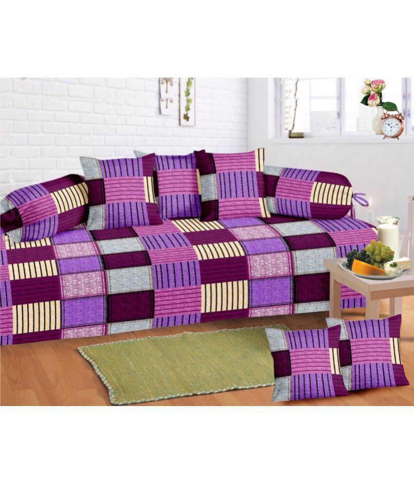 HFI Cotton Multi Checks Diwan Set 8 Pcs