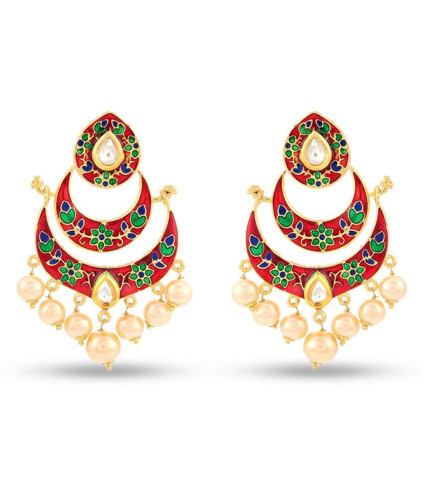 Traditional Red Meenakari Kundanchandbali Earring For Girls / Women