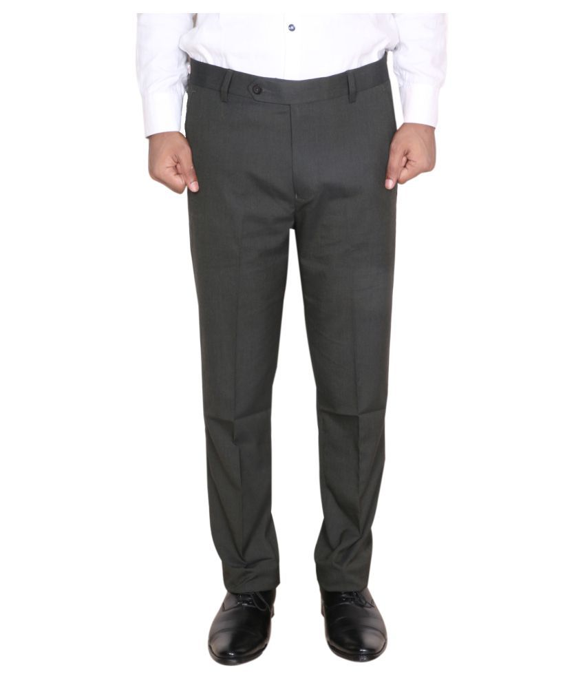 IndiWeaves Black Regular -Fit Pleated Trousers