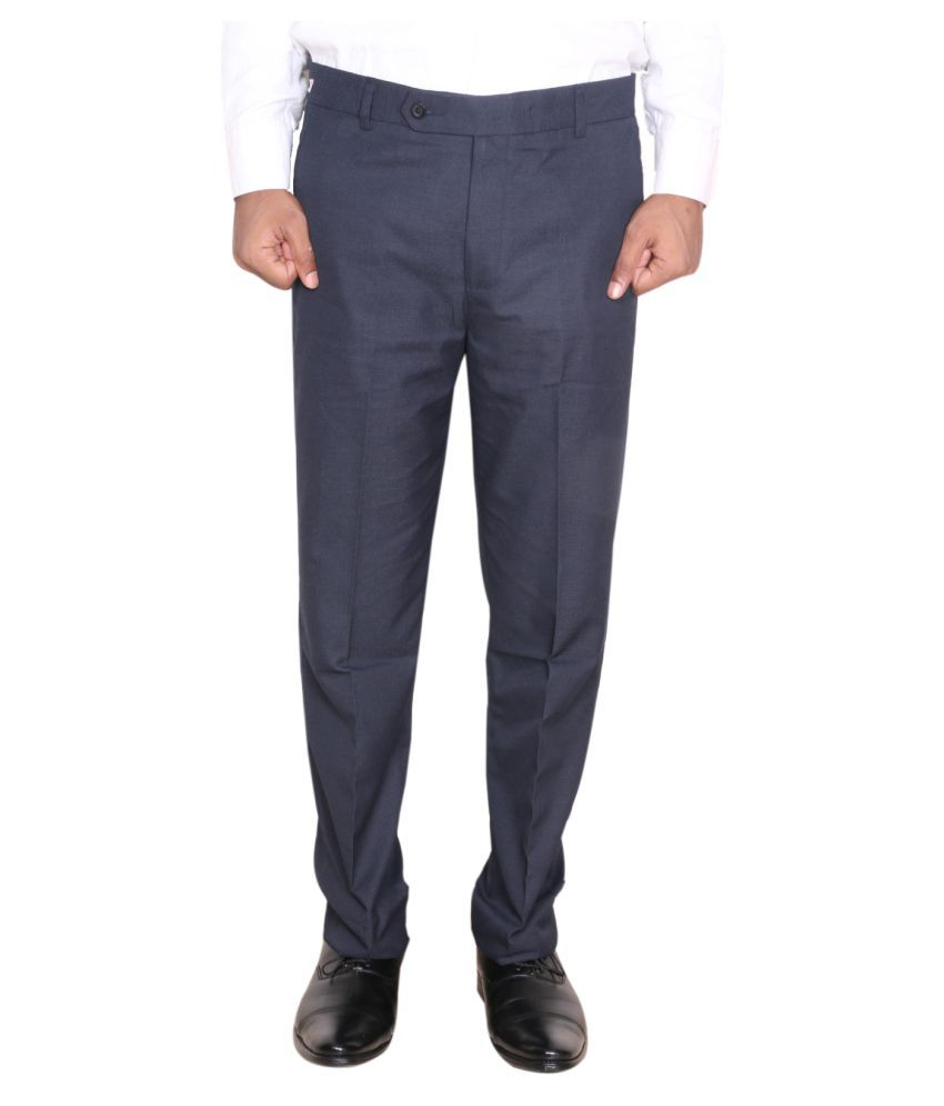 IndiWeaves Navy Blue Regular -Fit Pleated Trousers