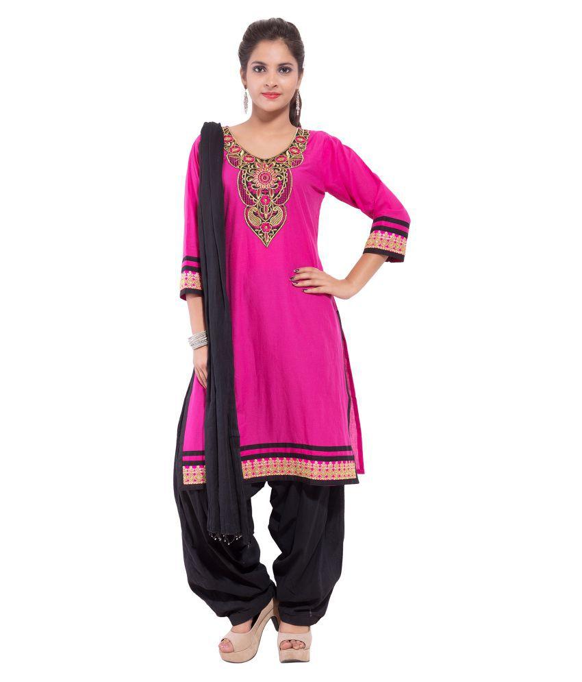 SSK FASHION Pink Cotton A-line Stitched Suit