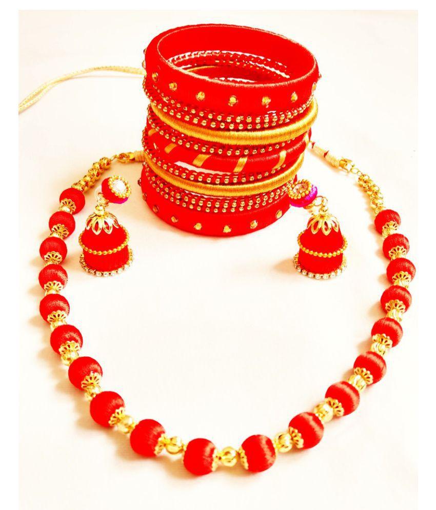 Shyla's Creation (Artificial Silkthread) Jewelry Set for Women (SKU- SCB-JS-018)
