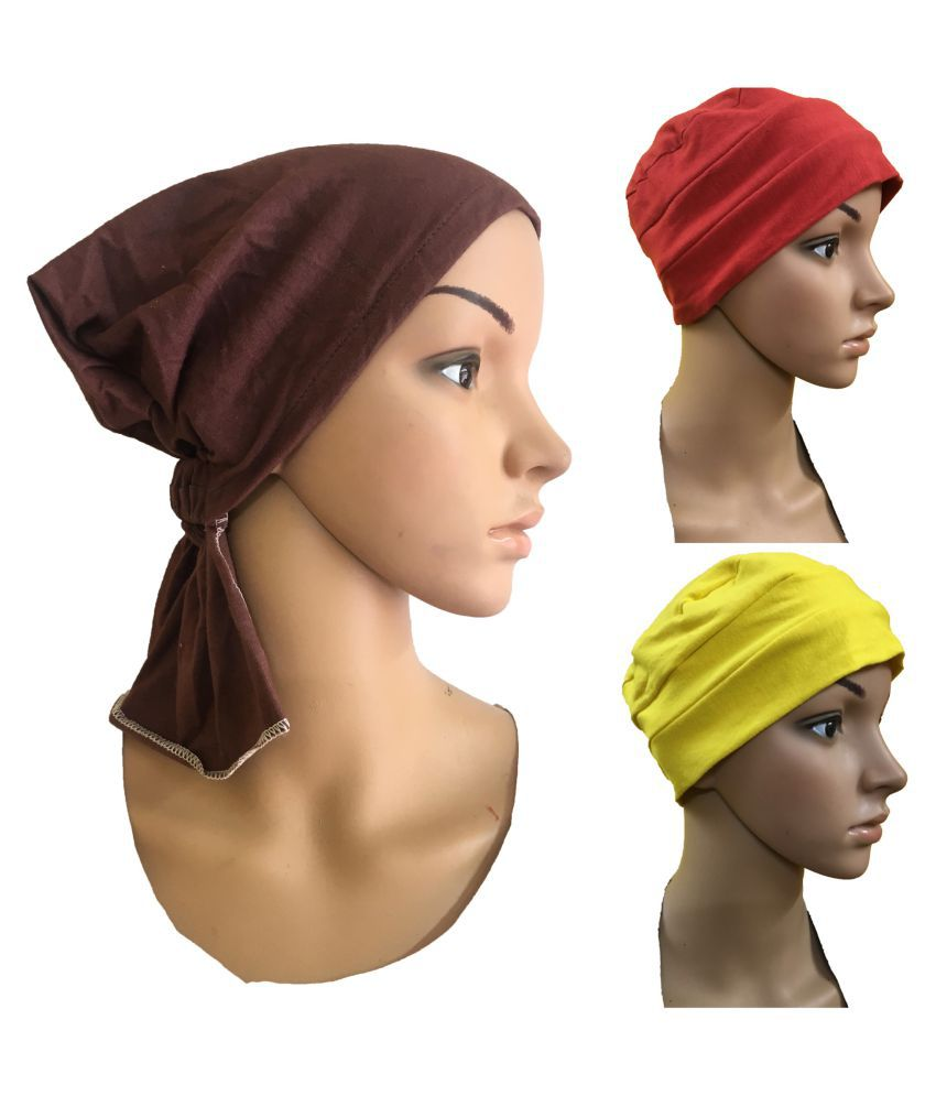 3 PIECES COMBO PACK OF CHEMO HEADWRAP UNDERSCARF CAPS CANCER PATIENT CAPS