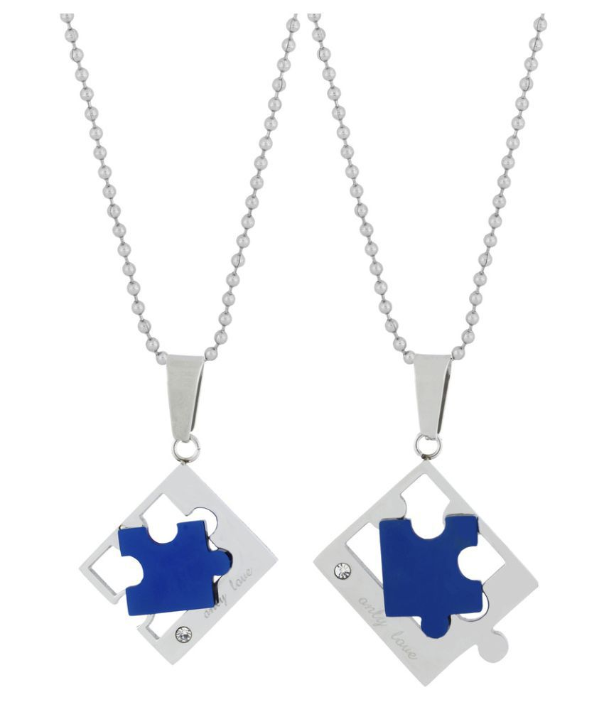 The Jewelbox Love Puzzle Blue Silver 316L Surgical Stainless Steel Pendant Chain Necklace For Couple