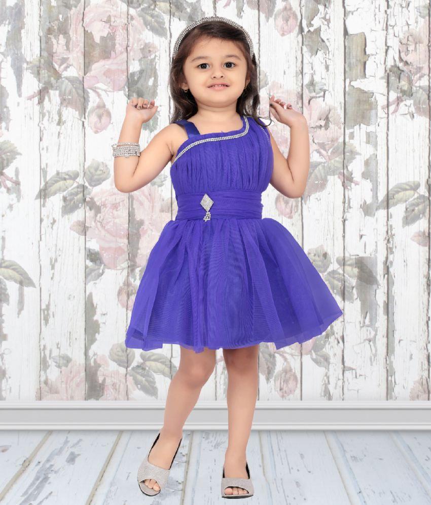 Aarika Blue Girl\'s Party Wear Self Design Net Frock - Buy Aarika ...
