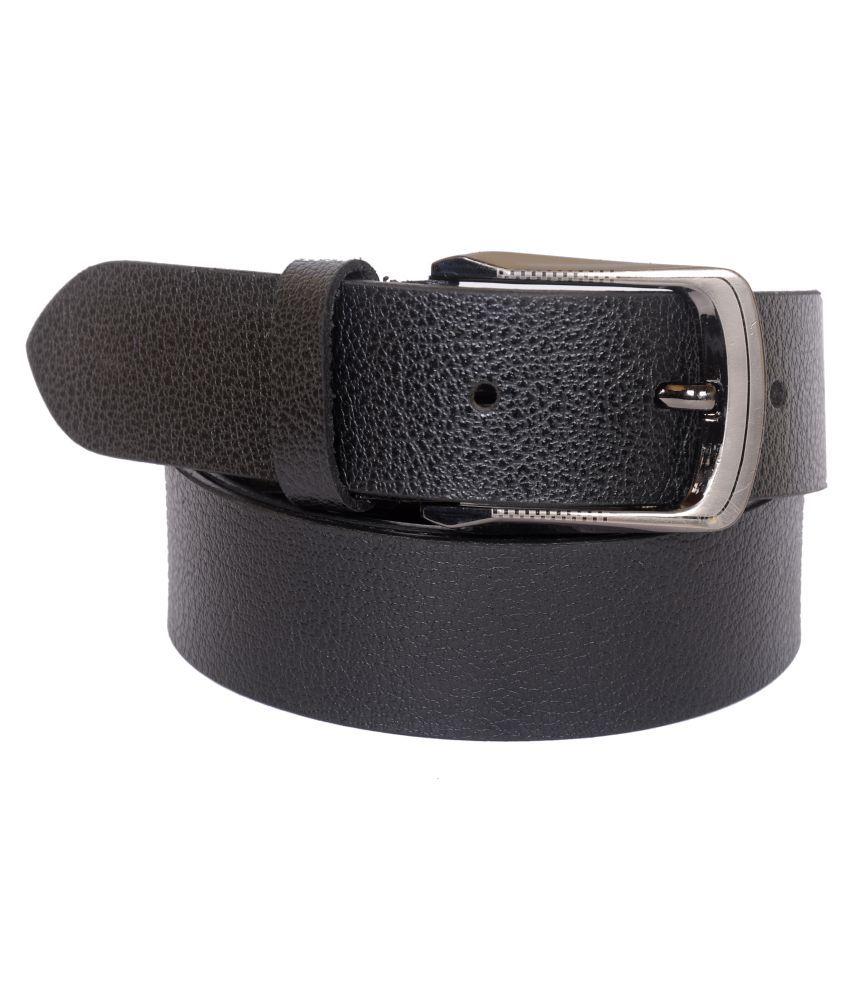 Naysa Black Leather Casual Belts