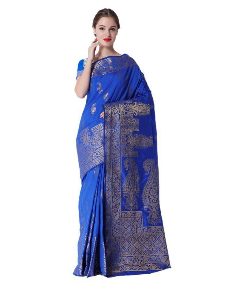Makewayin Blue and Grey Art Silk Saree