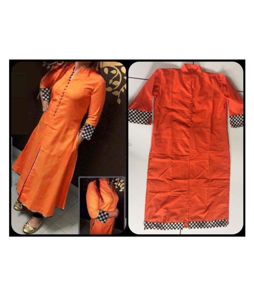 F Plus Fashion Orange Cotton Straight Kurti
