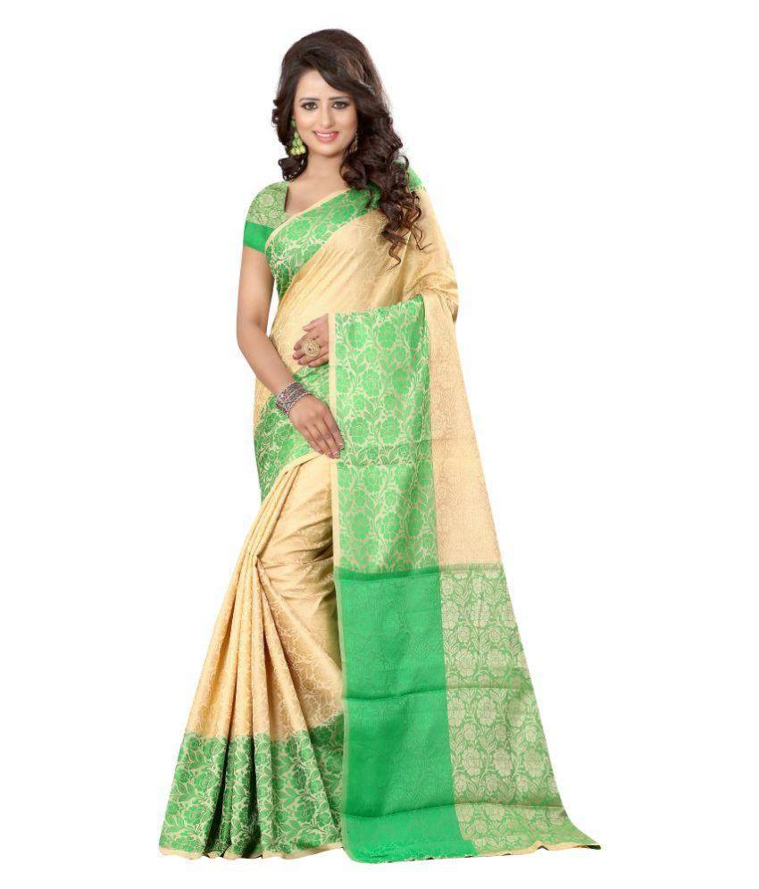 Craftliva Beige Cotton Silk Saree