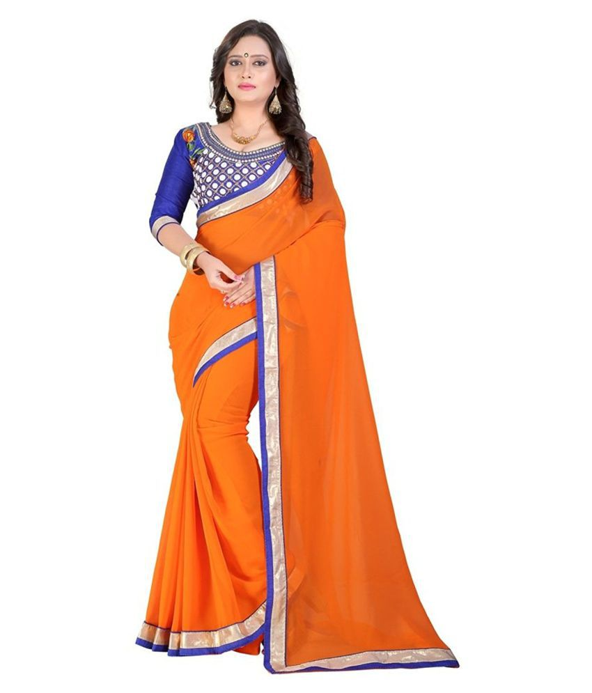 Krishna Emporia Orange Georgette Saree